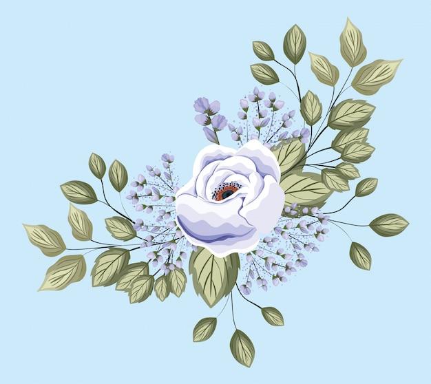 Biały kwiat róży z liśćmi, malowanie, naturalny kwiatowy ornament roślinny, dekoracja ogrodowa i ilustracja motyw botaniczny