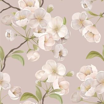 Biały kwiat wiśni wzór z kwiatów i liści na beżowym tle. dekoracja tapety lub papieru do pakowania, dekoracja tekstylna, kwitnąca dekoracja sakura do tkaniny art. ilustracja wektorowa