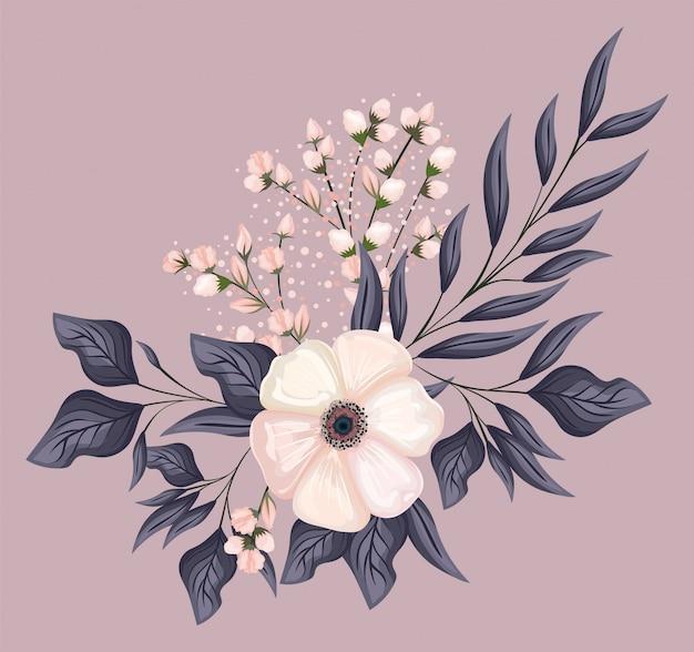 Biały kwiat z liśćmi projekt malarski, naturalny kwiatowy ornament roślinny dekoracja ogrodowa