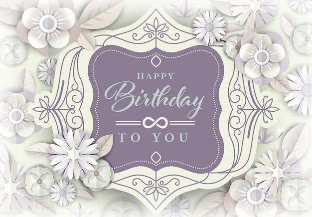 Biały kwiatowy kartkę z życzeniami na urodziny