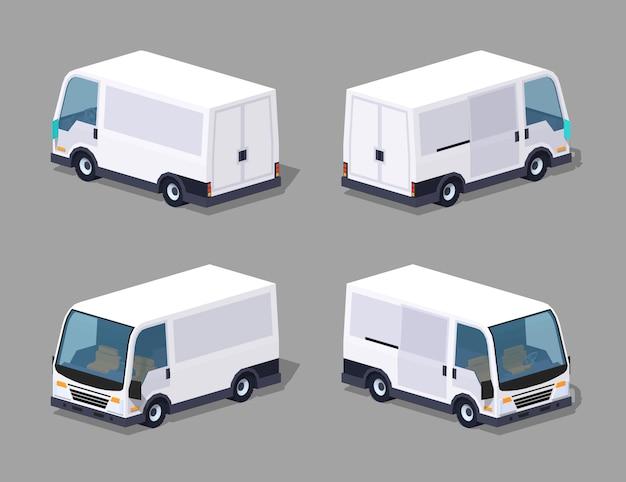 Biały ładunek 3d izometryczny van