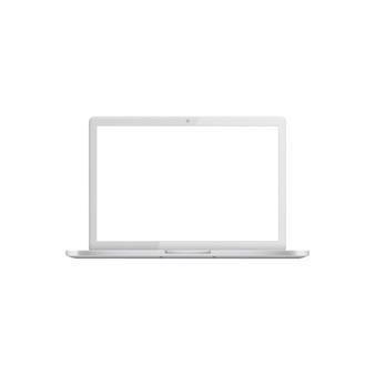 Biały laptop z pustym ekranem