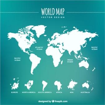 Biały mapa świata