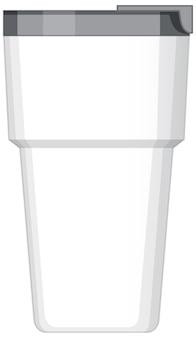 Biały metalowy kubek na wodę na białym tle