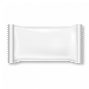 Biały mokry wytarcie pakunek odizolowywający na białym tle.