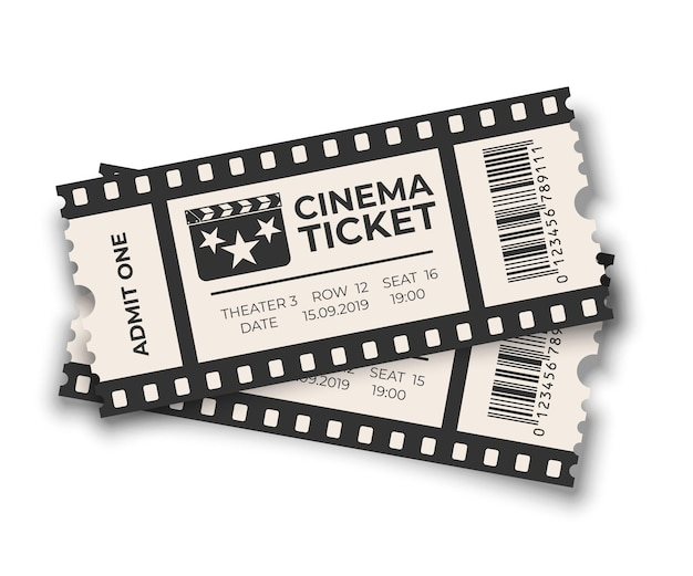 Biały nakładający się bilet do kina z zestawami szablonów kodów kreskowych na białym tle