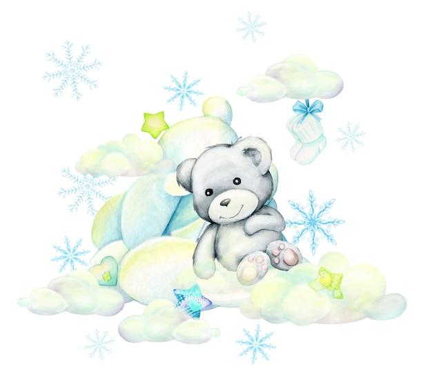 Biały niedźwiedź. leży na chmurach na tle gwiazd i płatków śniegu, na białym tle akwarela