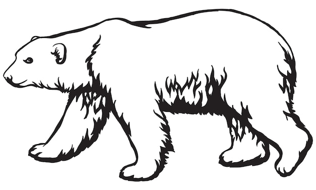Biały niedźwiedź polarny czarno-biały wzór nadaje się do grawerowania laserowego maskotki do nadruku lub haftu