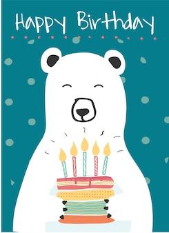 Biały niedźwiedź polarny trzyma tort urodzinowy pomysł na urodziny karty