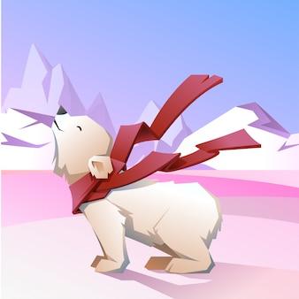 Biały niedźwiedź w czerwonym szaliku.
