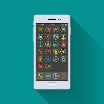 Biały ogólny smartfon włączony na ekranie głównym na tle turkusowym.