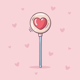 Biały okrągły lizak z czerwonym sercem w stylu bazgroły na różowym tle z sercami