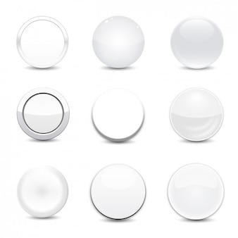 Biały okrągły przycisk set