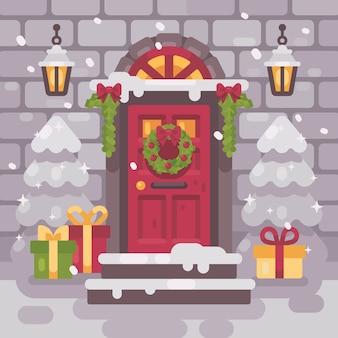 Biały ozdobny ganek bożonarodzeniowy