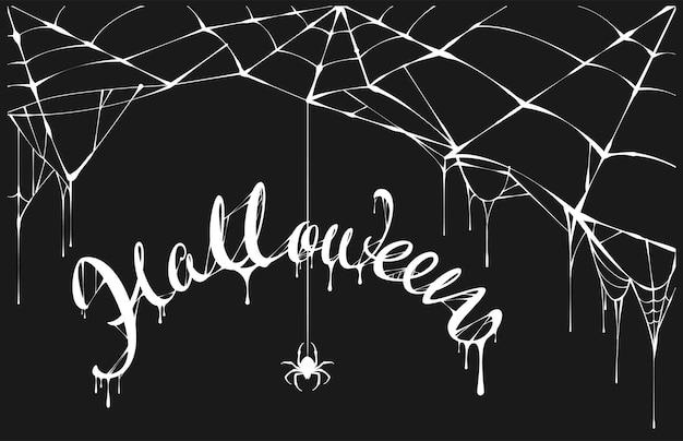 Biały pająk i biała pajęczyna na czarnym tle halloween