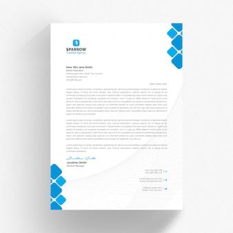 Biały papier firmowy i szablon cv z niebieskimi detalami