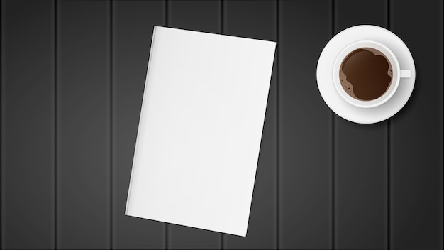 Biały papier na czarnym drewnianym stole. książka z pustą okładką. filiżanka kawy na stole.