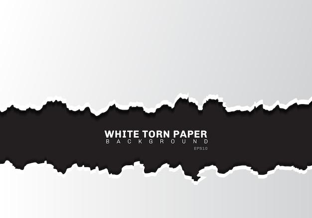 Biały papier rozdarty krawędzie z cieniem na czarnym tle