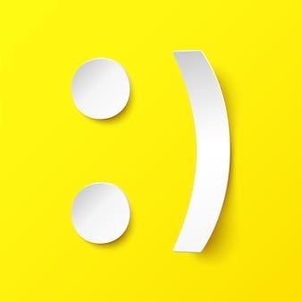 Biały papier uśmiech na żółtym tle. ilustracja w stylu papieru z cieniem. szczęśliwy uśmiech wektor
