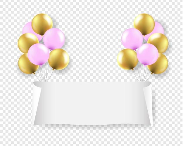 Biały papierowy sztandar z różowymi i złotymi balonami przezroczyste tło z gradientową siatką,