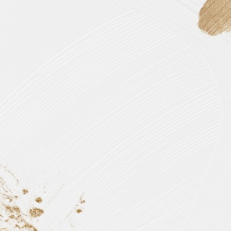 Biały pędzel teksturowanej tło z złotym brokatem