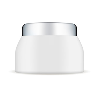Biały plastikowy kremowy słoik makiety ze srebrną pokrywką.