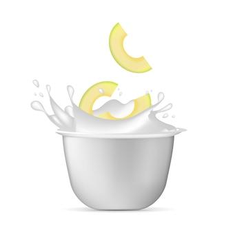Biały plastikowy kubek do jogurtu. spray jogurtowy i plastry awokado. pojedynczo na białym tle. ilustracja.
