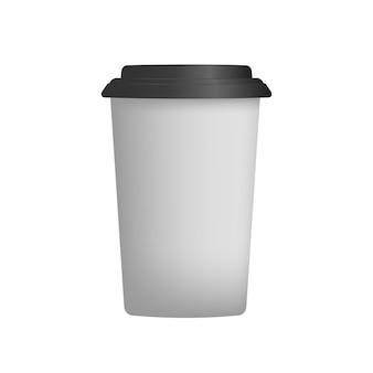 Biały plastikowy kubek na kawę w 3d. wektor filiżanka kawy papieru. odosobniony.