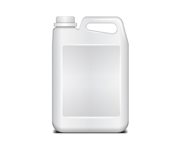 Biały plastikowy pojemnik. płynny detergent do prania z pokrywką. plastikowy biały kanister