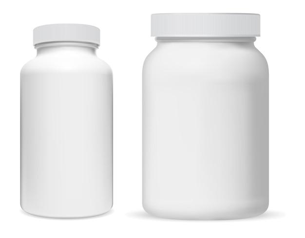 Biały plastikowy słoik z suplementami