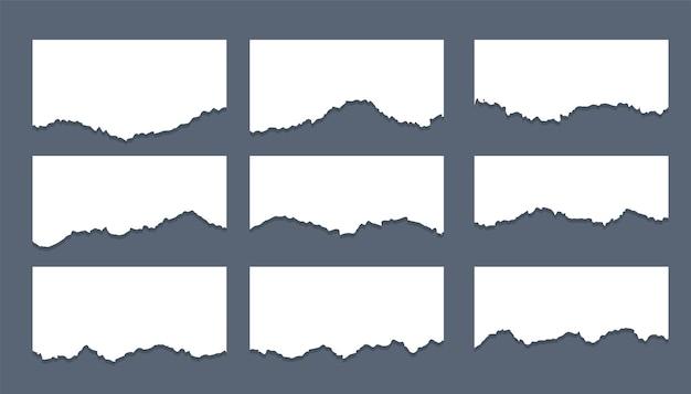 Biały podarty arkusz pasków papieru, zestaw dziewięciu
