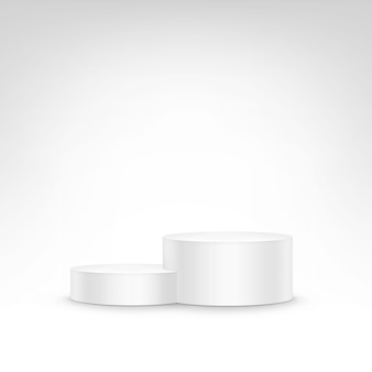Biały podium trybuny stojak na białym tle