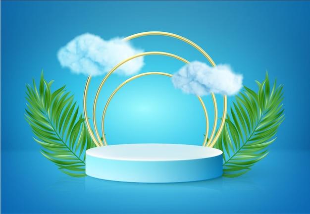 Biały produkt podium z zielonymi tropikalnymi liśćmi palmowymi i chmurą
