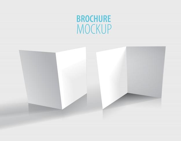Biały projekt broszury na szarym tle.