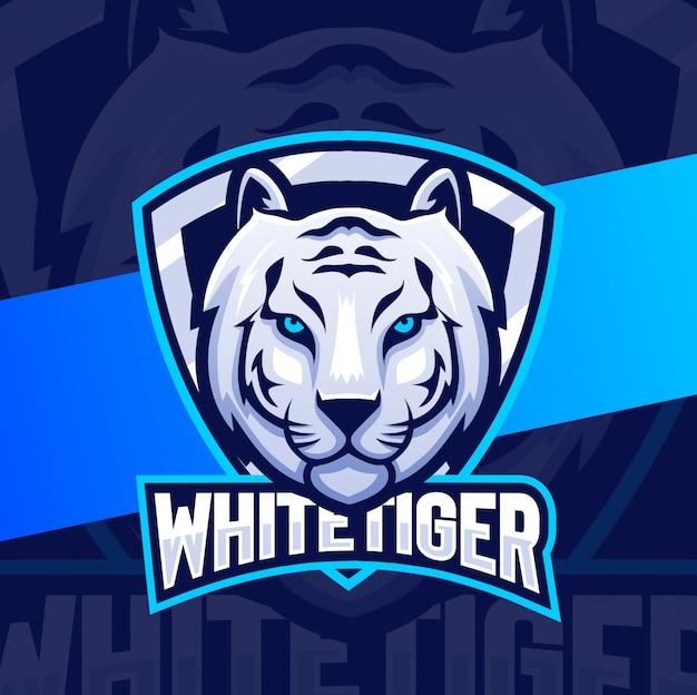 Biały projekt logo esport maskotka głowa tygrysa
