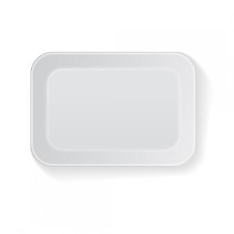 Biały prostokątny pusty styropianowy pojemnik na żywność z tworzywa sztucznego. szablon
