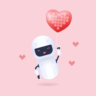 Biały przyjazny robot trzymając balon w kształcie serca