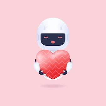 Biały przyjazny robot trzymający balon w kształcie serca.