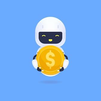 Biały przyjazny robot trzymający złotą monetę.
