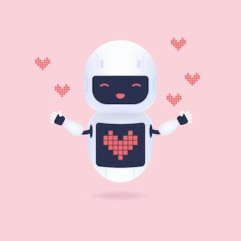 Biały przyjazny robot z symbolem kształtu serca na ekranie.