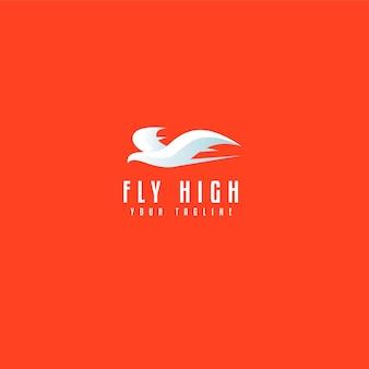 Biały ptak latający prosty szablon logo