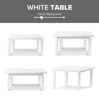 Biały pusty kwadratowy stół