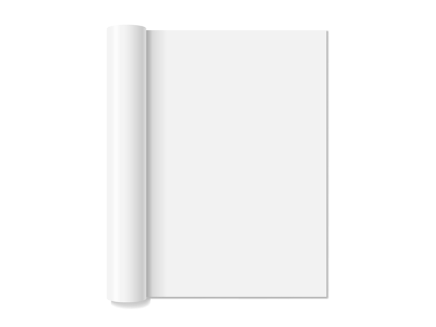 Biały pusty otwarty magazyn na białym tle