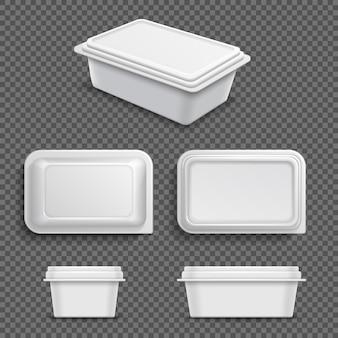Biały pusty plastikowy pojemnik na żywność do smarowania margaryny lub masła. realistyczna 3d wektorowa ilustracja