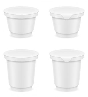 Biały pusty plastikowy zbiornik jogurtu lub lody wektoru ilustracja