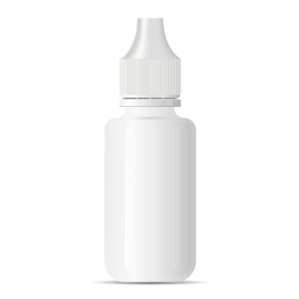 Biały pusty pojemnik medyczny kroplomierzem oka