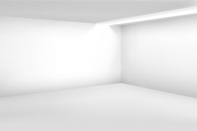Biały pusty pokój. 3d nowoczesne puste wnętrze. tło wektor domu