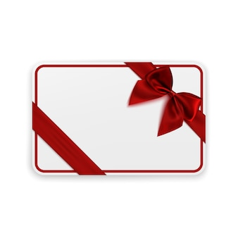 Biały pusty szablon karty upominkowej z czerwoną wstążką i kokardą. ilustracja.