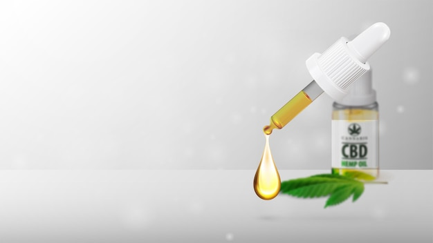 Biały pusty szablon ze szklaną przezroczystą butelką medycznego oleju cbd i liściem konopi z pipetą