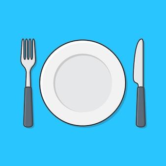 Biały pusty talerz z rozwidleniem i nożem